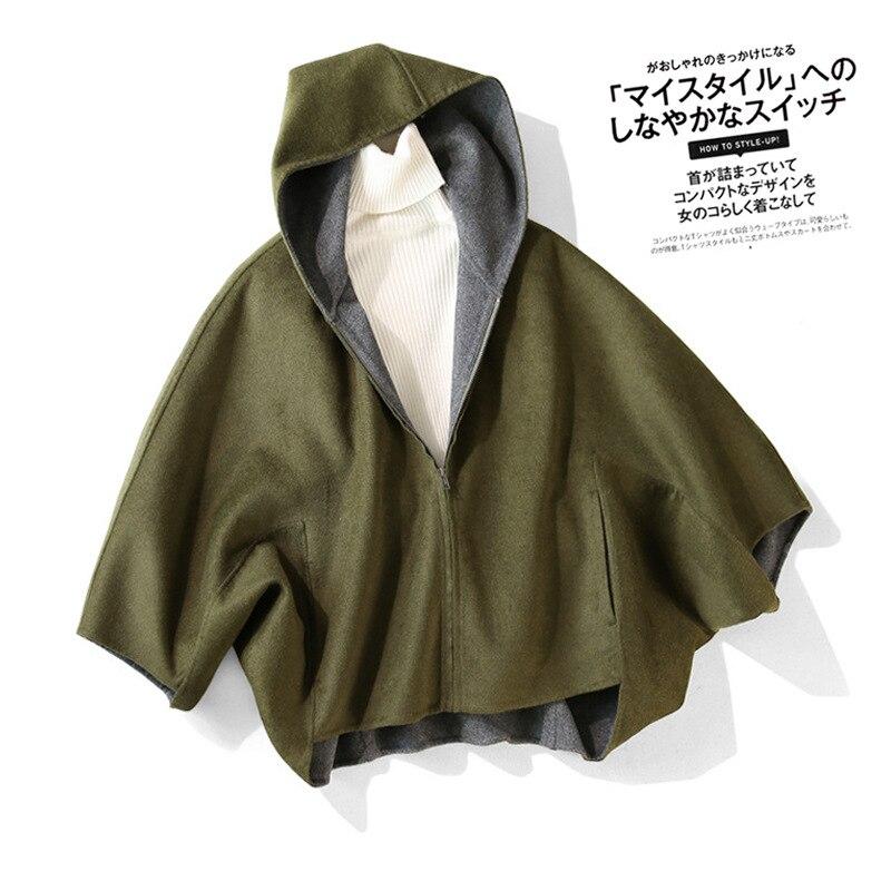 Shuchan 80% Wool Cloak  Solid Hooded Zipper High Street 2019 Winter Warm Fleece Jacket Woman Designer Women Quality