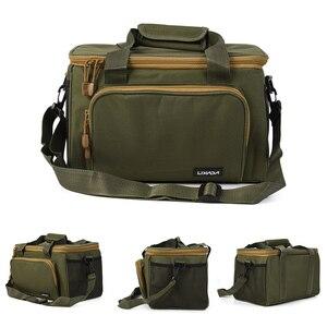 Image 1 - Lixada Men Fishing Bag Canvas Multifunctional Outdoor Waist Shoulder Bag Fishing Reel Lures Storage Bag Fishing Gear 37*25*25cm