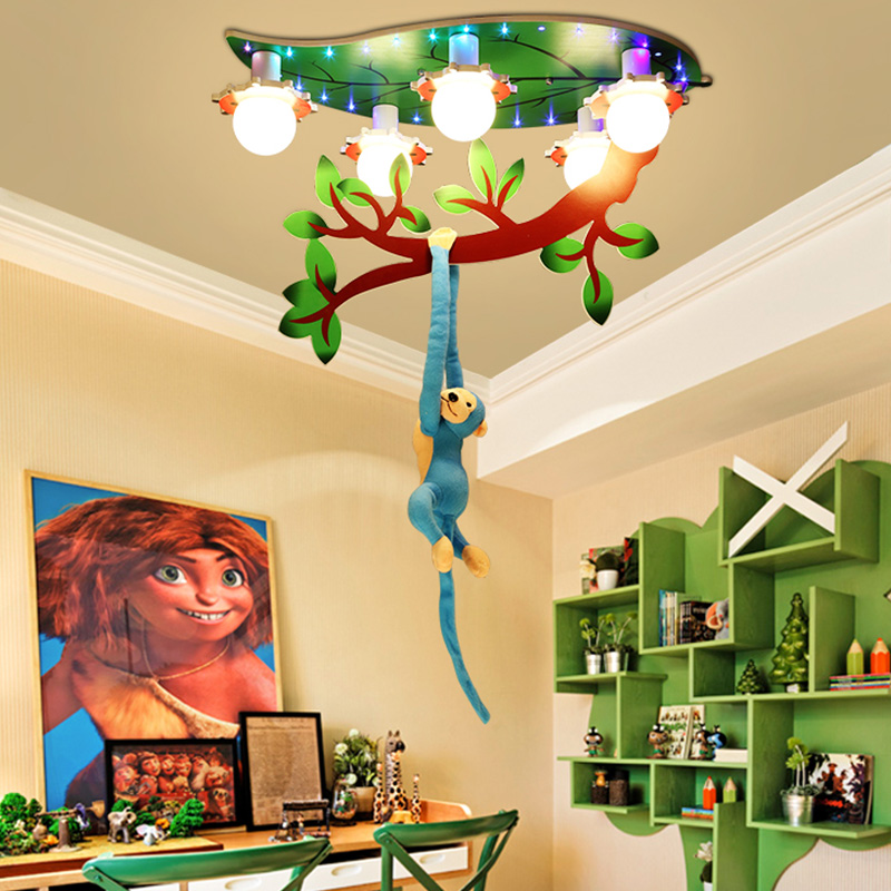 Cartoon Creativity Monkey Ceiling Lamp Child Room Boy Girl Bedroom Warmth Eye Protection LED Ceiling Lamp Free Shipping