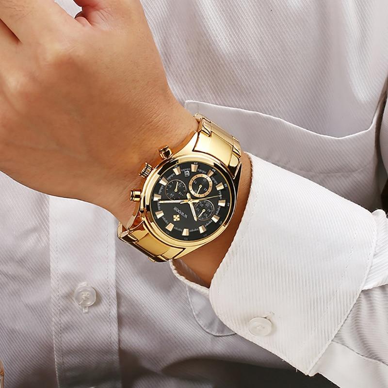 Men Watches 2020 Luxury WWOOR Watch Men Gold Black Quartz  Clock Chronograph Sports Waterproof Wristwatch Mens Relogio Masculino