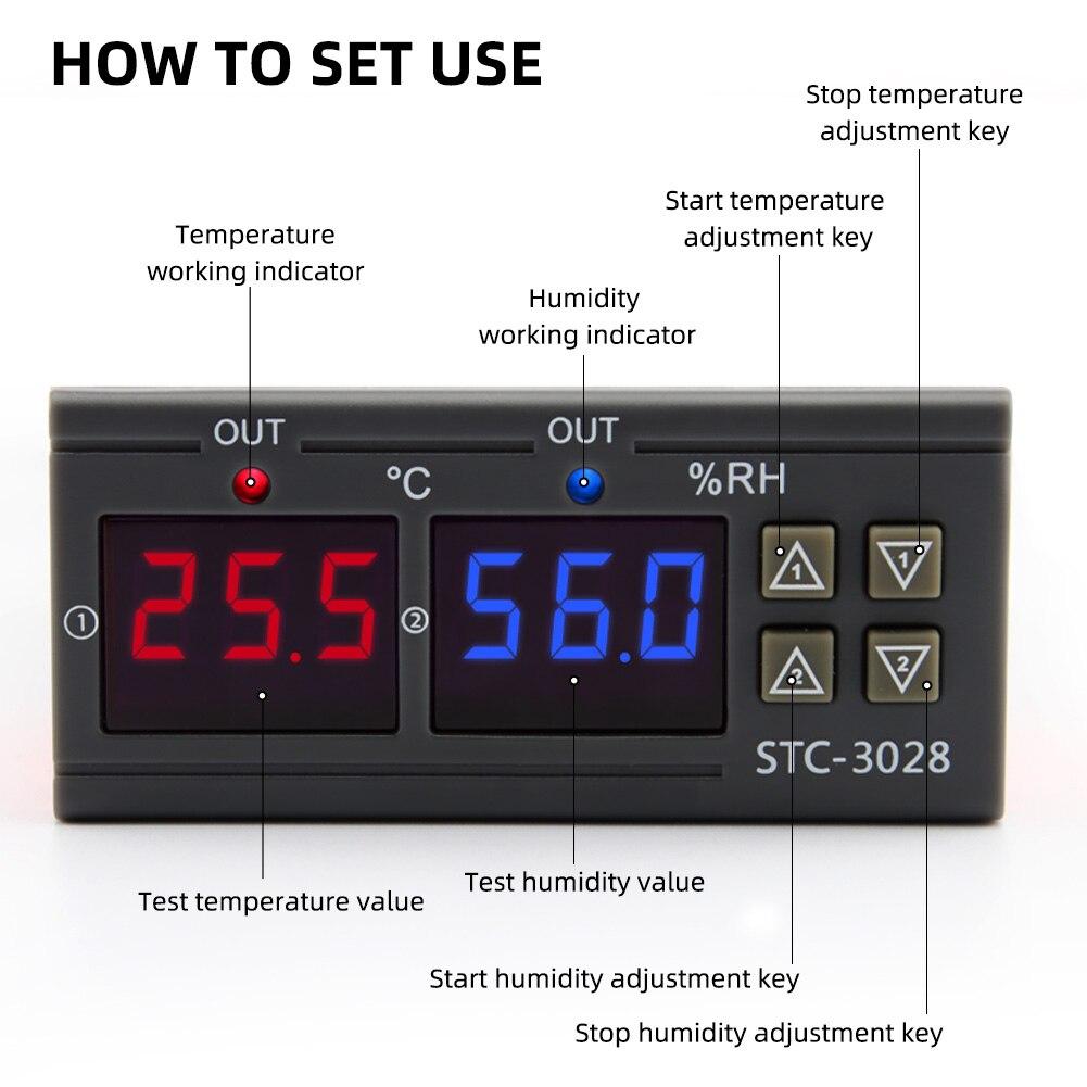 termômetro higrômetro controlador ac 110v 220v dc 12v 24v 10a