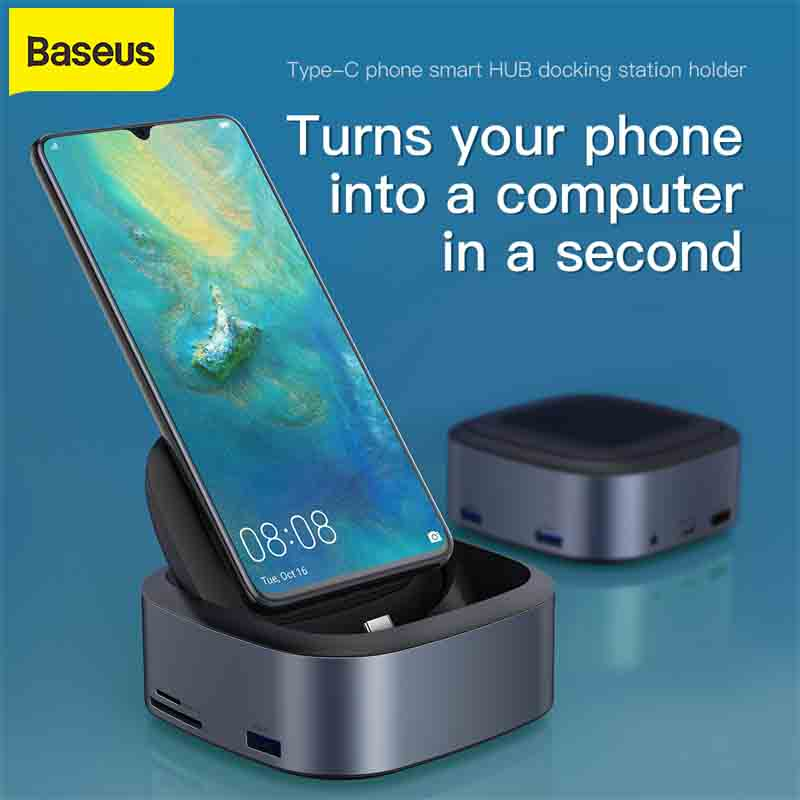 Baseus Type C HUB Docking Station For Samsung S8 S9 S9+ USB C To HDMI 3.5mm Dock Adapter Mobile Phone For Huawei P30 P20 Pro