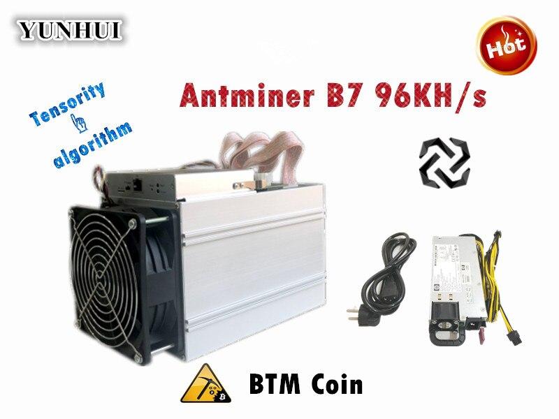 BTM Miner Antminer B7 96KH/s 528W With 750W PSU Asic Tensority Miner Mine BTM Better Than Antminer S9 S11 S15 S9k S17 T17 S17+