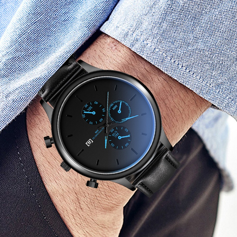 Black Men Watch Relojes Hombre 2019 Montre Homme Zegarek Meski Fashion Watch Leather Luxury Date Wrist Watch Sport Watches @25