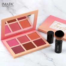 Imagic blush paleta maquiagem 6 cores rosto profissional blush pérola laranja pigmento de alta qualidade beleza maquiagem cosméticos blushes