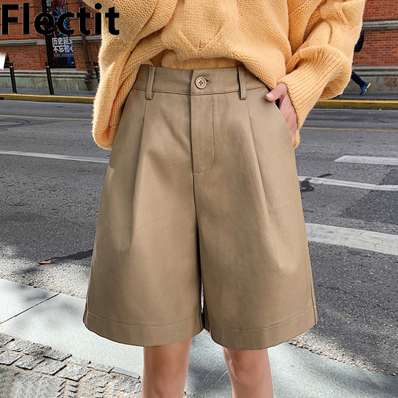 Flectit Womens Leather Bermuda Shorts Tailored With Pocket Wide Leg High Waist Suit Shorts Office Lady Winter Chic Outfit * 1
