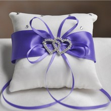 Handmade Ring Pillow Ribbon Bowknot Rhinestones European Wedding Decor Satin Cushion Party Supplies 10x10cm