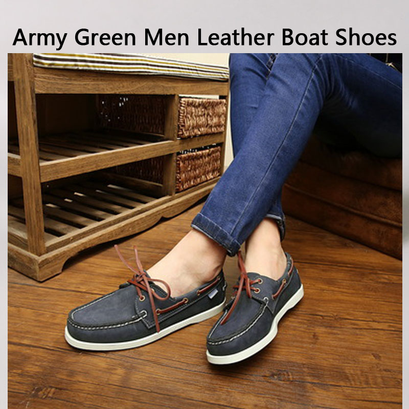 Army Green Men Leather Boat Shoes Lace Up Fashion Flat Creepers 46 Moccasins Shoes Men's Genuine Leather Casual Shoes Loafer