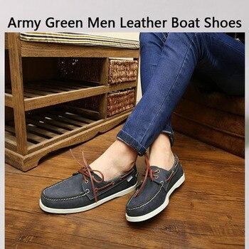 Zapatos náuticos de cuero de color verde militar para hombre, zapatos con cordones a la moda, enredaderas planas de 46, mocasines, zapatos de cuero genuino para hombre, zapatos informales mocasín
