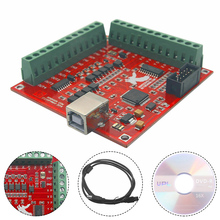 MACH3 4 Axis 100KHz USB Interface CNC Wood Router Machine Smooth Stepper Motion Controller Card Breakout Board 12-24V недорого