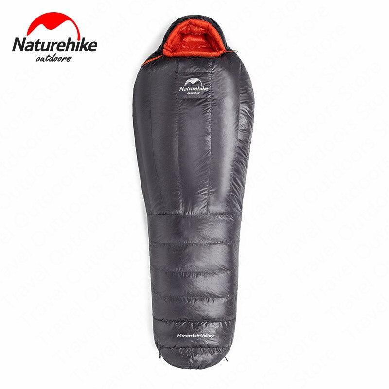 2019 neue Naturehike Gans Unten Mummy Schlafsack Winter 20D 400T Nylon Wasserdichte Warme Schlafsack Tragbare Camping Reise