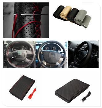 car auto DIY Braided Hand Sewing Steering Wheel Cover S M L Code Auto Parts for BMW i8 Z4 X5 X4 X2 X3 M5 M2 X6 M6 640i 640d image