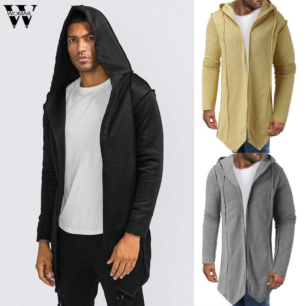 Womail chaqueta para hombre otoño con capucha con vestido negro Hip Hop Mantle Hoodies moda chaqueta capa abrigos prendas de vestir street Dropship P0