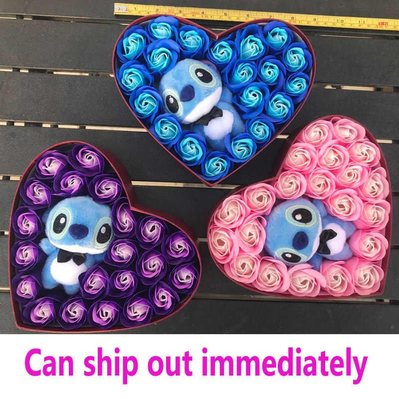 Bunga Buatan Buket Stitch Karangan Bunga Mainan Mewah Sabun Rose Bunga Lilo Mainan dengan Kotak Hari Valentine Dekorasi untuk Pernikahan