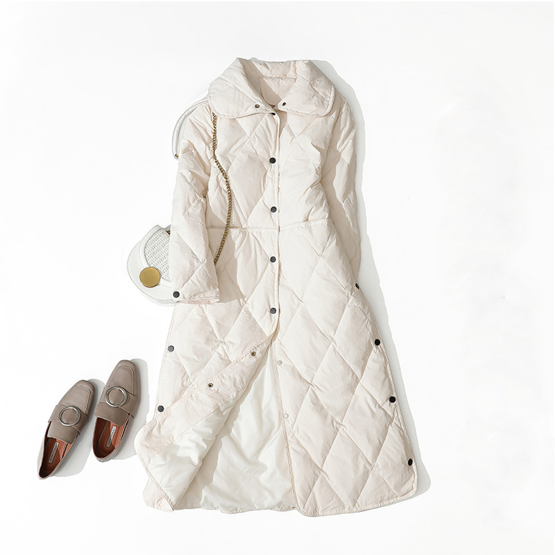 2019 Women Autumn Winter Oversized Light Thin long Warm parka 90% White duck Argyle   Down     Coat   and Jacket Mint Female outwear