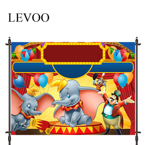 LEVOO Photographic Background Circus Dumbo Performance Cartoons Birthday Photo Studio Photocall Printed Shoot Prop Decor Fabric