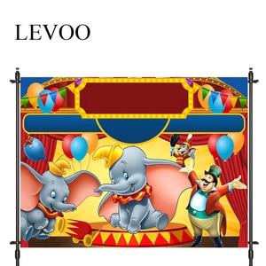 LEVOO Photographic Background Circus Dumbo Performance Cartoons Birthday Photo Studio Photocall Printed Shoot Prop Decor Fabric