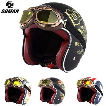 SOMAN Retro Helmet Motorcycle Open Face Leather Scooter Helmets Classic 3/4 Chopper Casco Moto Vintage