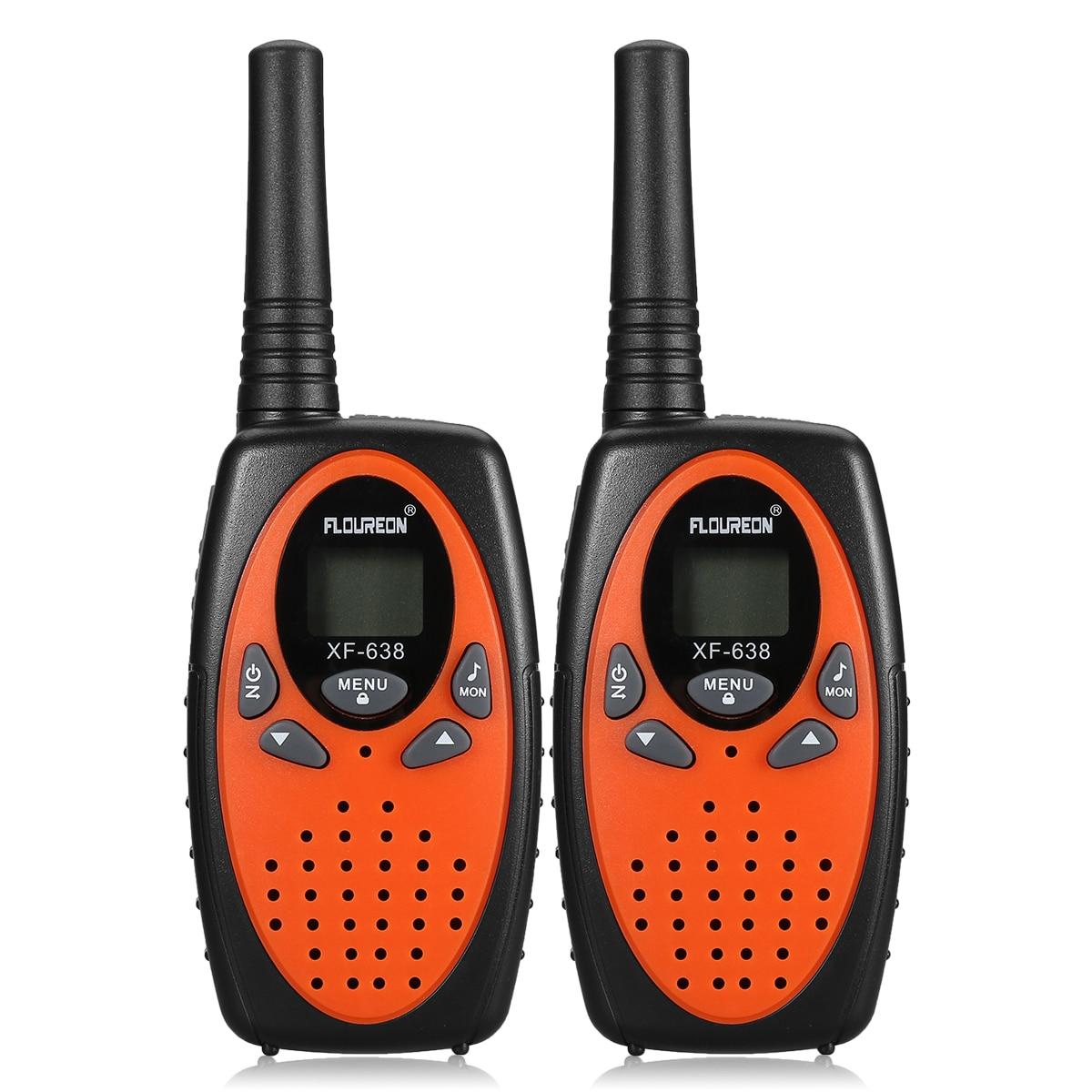 2pcs FLOUREON 8 Channel Kids Walkie Talkies PMR 446MHZ UHF400-470MHz TWO-Way Radio 3KM Portable Interphone VOX Communicator Gift