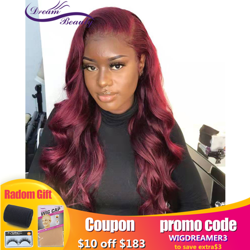 Dream Beauty 99J 13x6 Lace Front Wigs Burgundy Colored Wave Ombre Highlight Pre Plucked Brazilian Remy Human Hair For Women
