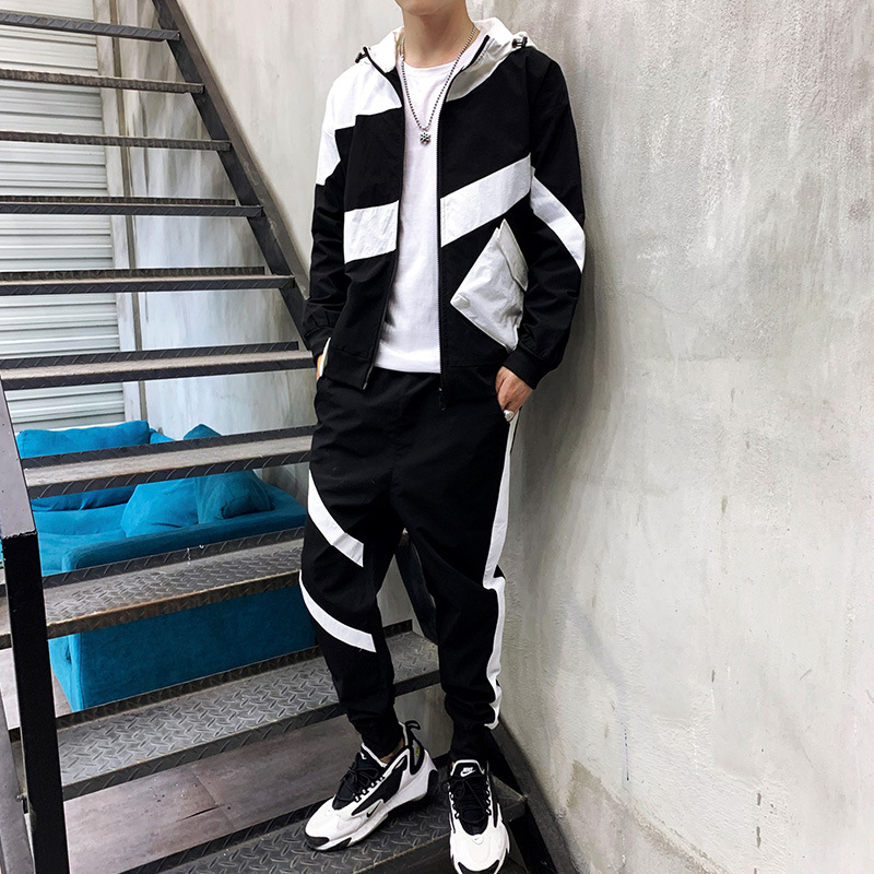 Men Sports Leisure Suit 2019 New Style Handsome Korean-style Trend Workwear Jacket Men's Spring And Autumn Two-Piece Set