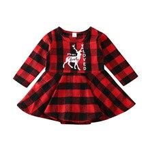 Новинка года; Рождественская Одежда для новорожденных девочек; клетчатое платье; вечерние рождественские платья с оленем
