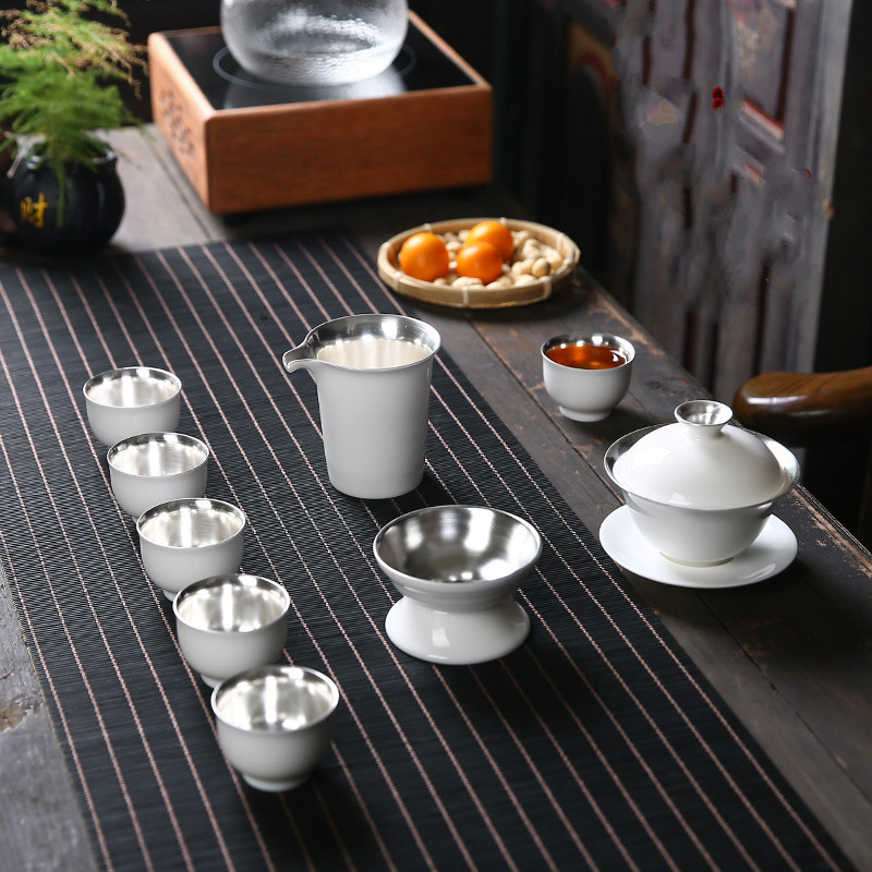 Dehua White Porcelain Sterling Silver Ceramic Tea Set Home Simple Tea Cup Gift Box With Lid