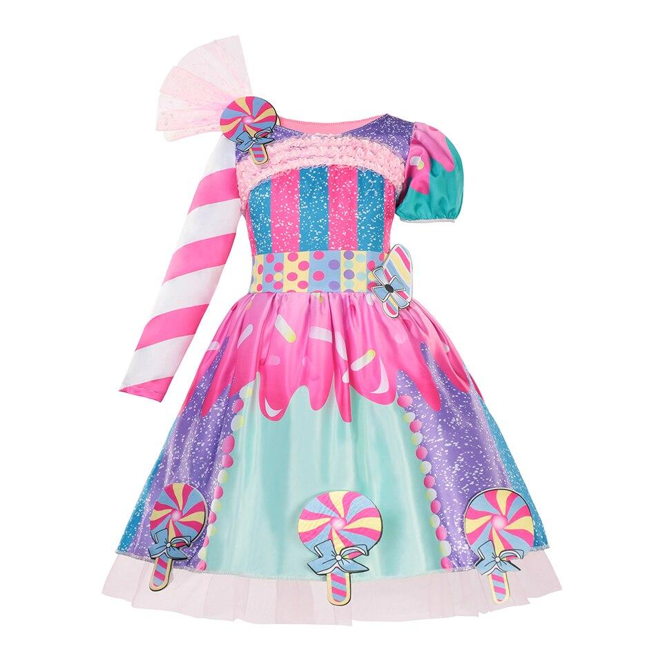2021 yeni moda bebek kız şeker elbise çocuk cadılar bayramı partisi kostüm renkli balo elbisesi 2-6 yıl çocuk giyim