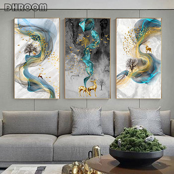 цена на Modern Abstract Golden Deer Painting Big Size Poster Blue Print Gold Wall Art Picture for Living Room Modern Cuadros Canvas Art