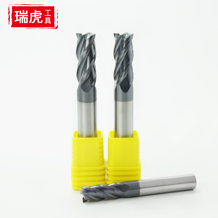 45-Degree Tungsten Milling Cutter Straight Handle Four-Edged End Mill Paintcoat Metal Alloy Tool Steel CNC Tool Flat Hard