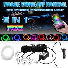 Carro rgb led luz de tira estilo do carro interior atmosfera decorativa lâmpadas 12v 5led 6m app cigarro fibra óptica neon dropshipping