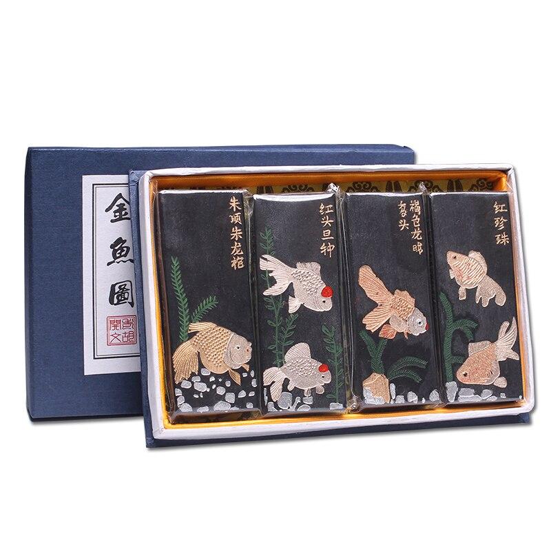 祝寿图 4PCS Set Chinese Pine Soot Ink HuiMo Calligraphy Writing Ink Block Ink Bar