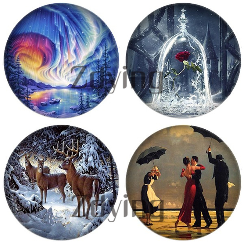 Zdying 5pcs Round Glass Animal landscape Painting Image Cabochons Dome Beads demo flat back DIY Making Jewelry Findings(China)