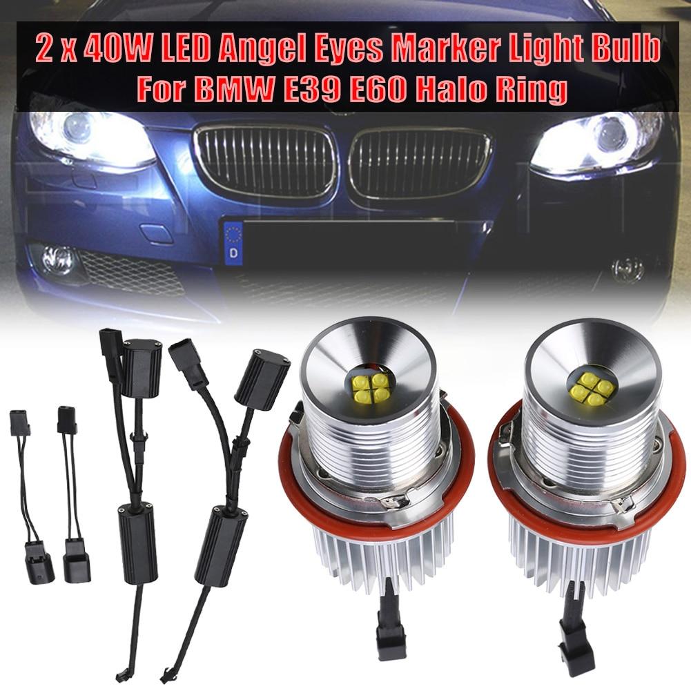 2pcs 1200LM 20W Headlight Angel Eye Ring Marker Halo Light Led for BMW E90 E91