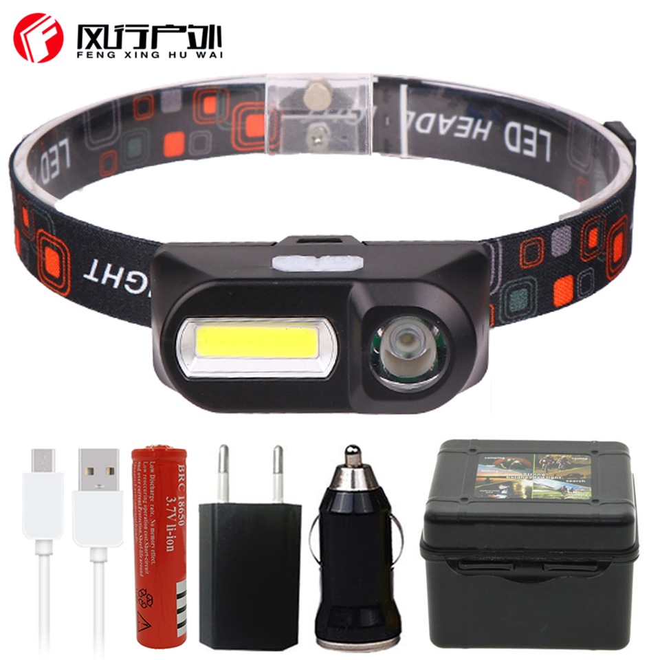 Mini COB LED Headlight Headlamp Head Lamp Flashlight USB Rechargeable 18650 Torch Camping Hiking Night Fishing Light D45