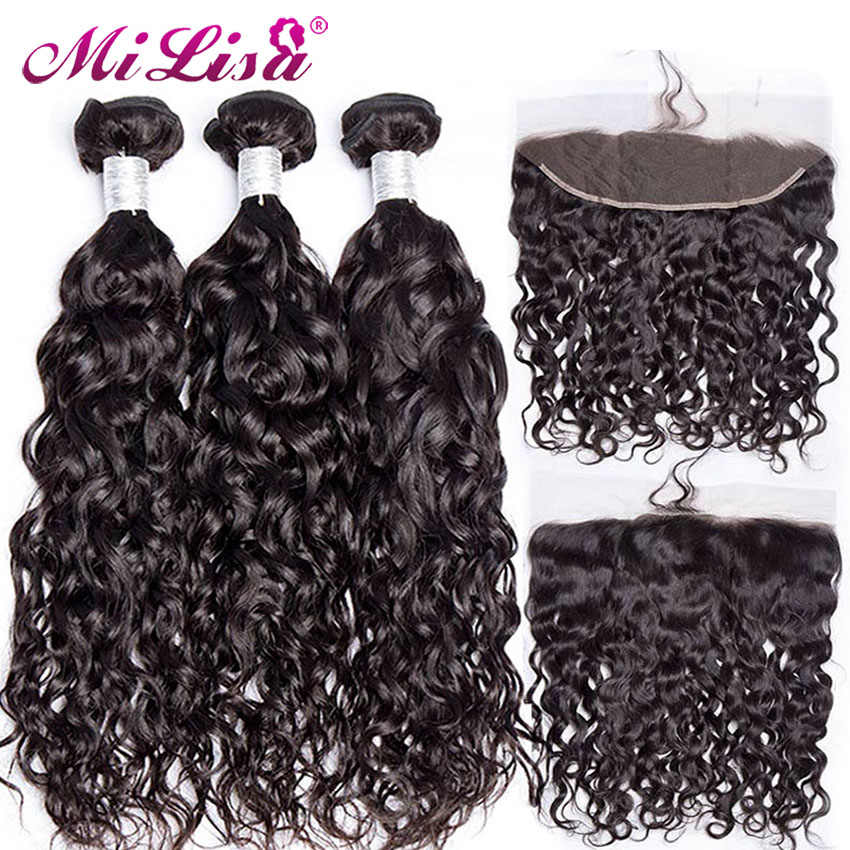 Brazilian Water Wave 3 Bundles With Lace Frontal Closure Mi Lisa 10- 30 Inch Remy Human Hair Weave 13x4 Lace Frontal With Bundle