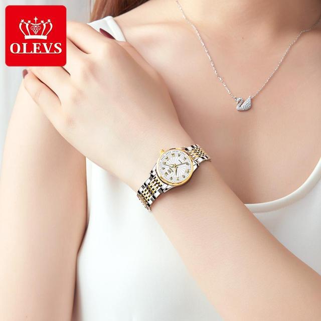 OLEVS Luxury Brand Women Automatic Mechanical Watches Steel Watch Band Watch Waterproof Simple Watch For Women Gift for Women 5