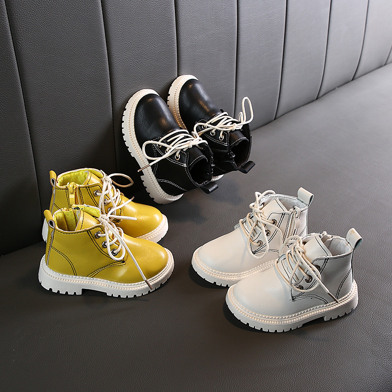2019 Girls Boys Boots Autumn Winter Infant Toddler Boots Baby Martin Boots Soft Bottom Non-slip Child Kids Outdoor Cotton Shoes