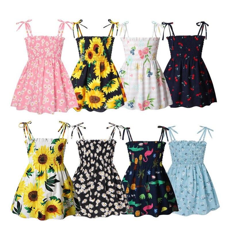Сладкий для маленьких девочек, летнее платье для девочек без рукавов, платья на бретельках из хлопка для маленьких девочек платье принцессы...
