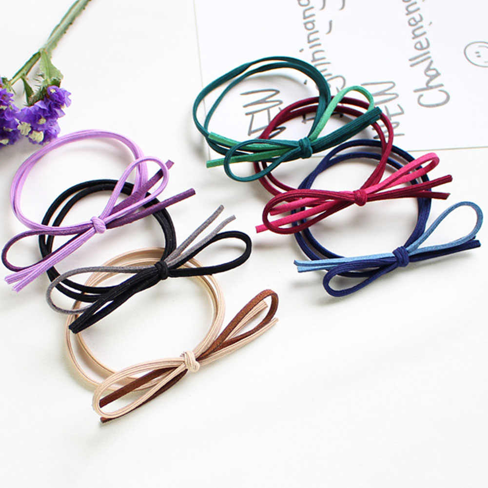 5 Colors Solid Elastic Hair Bands Headbands Basic Bow Tie High Elasticity Women Girls Hairband Children Hair Accessories Rubber