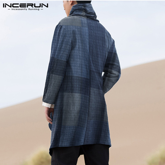 INCERUN Men Coats Turtleneck Plaid Cotton Long Sleeve Trench Ponchos Vintage Streetwear 2021 Casual Irregular Outerwear Cloak 4
