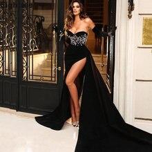Привлекательные черные вельветовые вечерние платья русалки плиссированные