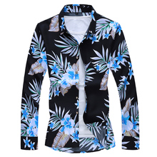 HIP HOP 2021 Autumn Spring Clothes Shirt Men Long Sleeves Big Size M-5XL 6XL 7XL Hawaiian Beach Casual Floral Shirt For Man