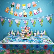 9 סגנון פפה חזיר יום הולדת מסיבת קישוט מסכת מכתב דגל ספקי צד אירוע פעילות צעצועים לילדים יום הולדת מתנות P30