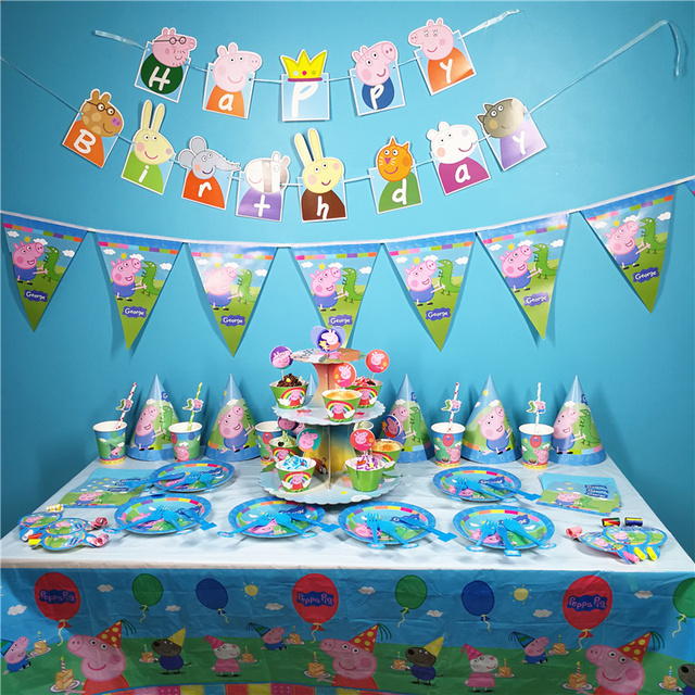 9style Peppa Pig Birthday Party Decoration Mask Letter Flag Party Supplies Activity Event Toys for Children Birthday Gifts P30