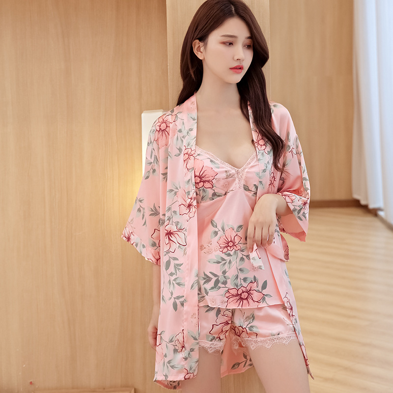 Print Floral Lady 3PCS Strap Top&Shorts Sexy Pajamas Set Lace Patchwork Sleepwear Nightwear Soft Negligee Sleep Suit With Belt