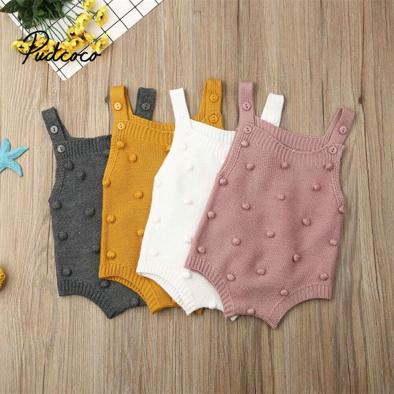 Pudcoco Baby Bodysuits Set Infant Jumpsuit Overall Sleeveless Baby Boys Clothing Autumn Knitted Girls Boys Baby Casual Clothes