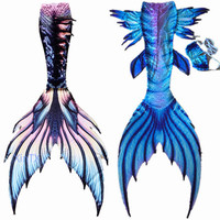 Adult Kids Customize Swimable Mermaid Tails with Monofin for Swimming Bathing Suit 3 Piece Bikinis Set Mermaid Cosplay