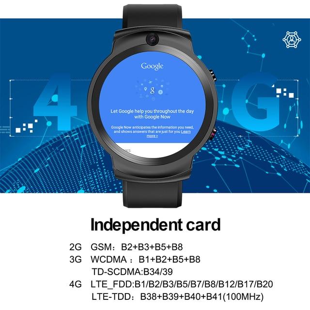LEMFO LEM13 Smart Watch 4G Slip Dual Camera 1.6 inch Round Screen OS Android 7.1 3G RAM 32G ROM LTE 4G Sim GPS WIFI Men Women 5