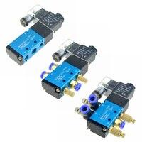 공압 전기 솔레노이드 밸브 5 방향 2 위치 12V 24V 220V 6mm 8mm 10mm 호스 연결 조절 공기 가스 마그네틱 밸브
